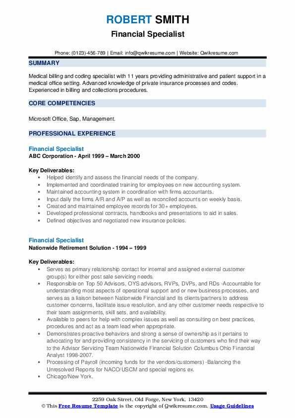 Financial Specialist Resume Samples Qwikresume Image Result For Resume Resume Web Developer Resume Software Development Life Cycle