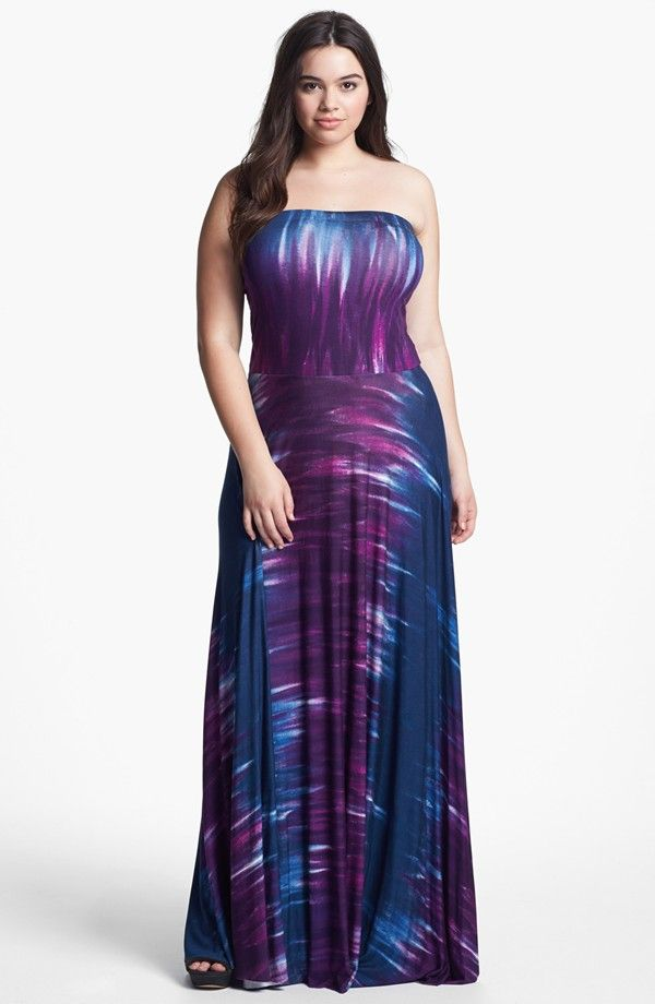 Plus-Size Maxi Dresses: Strapless Tie Dye Dress, Sizes 1X-3X | ElegantPlus.com Editor's Pick