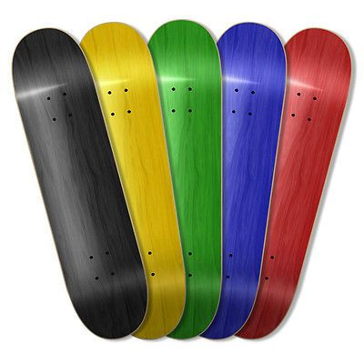 "5 Assorted Blank Skateboard Decks /w Griptape availble in 7.5"" 7.75"" 8.0"" 8.25"""