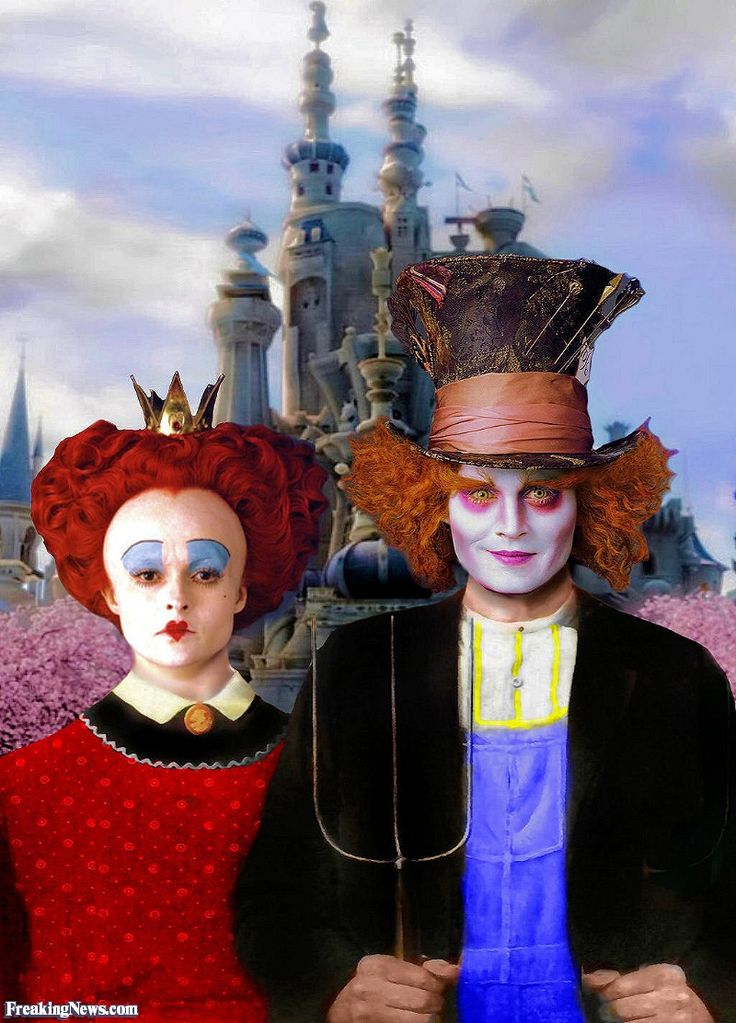 American Gothic in Wonderland Spoof using Tim Burton's Alice in Wonderland Hatter and Red Queen,