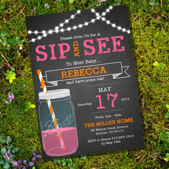 Chalkboard Sip and See Invitation - Meet The Baby Invitation - Instant Download and Editable File - Personalize at home with Adobe Reader