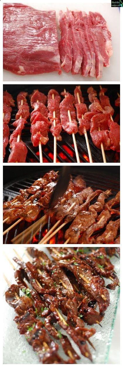 Ingredients: 1 flank steak 16 bbq skewers 2 tsp sesame oi salt & pepper Teriyaki Glaze 1 cup soy sauce 1/2 cup brown sugar 2 Tbsp honey 1 Tbsp mirin 1 Tbsp garlic, minced 1 tsp ginger, minced 1...