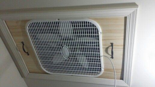 Integrated Box Fan Into Attic Entrance Alternative To