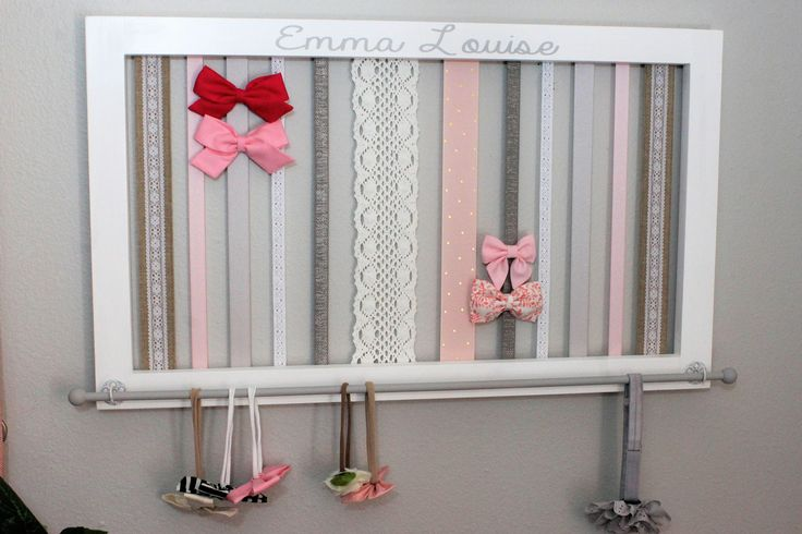 Headband and Hair bow Holder Baby Headband Holder Pink and Gray nursery decor Baby Girl Gift Pink Nursery Organizer Headband Organizer by SouthernPlankCrafts on Etsy https://www.etsy.com/listing/516037080/headband-and-hair-bow-holder-baby