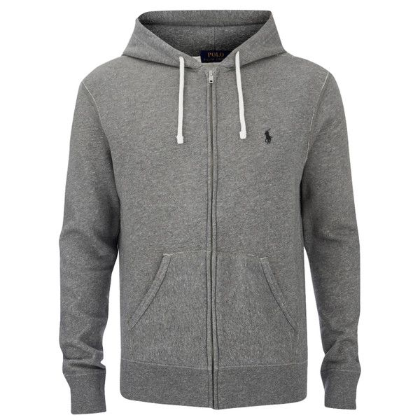 Polo Ralph Lauren Men's Zipped Hoody - Basecamp Heather ($175) ❤ liked on Polyvore featuring men's fashion, men's clothing and men's hoodies