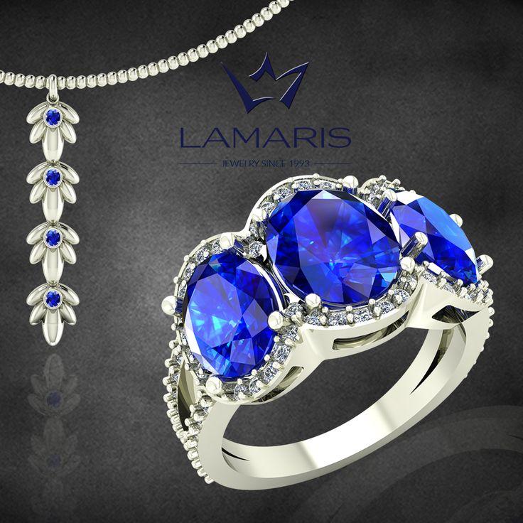 Pandantiv si inel din aur alb cu diamant si safir.