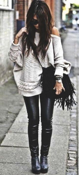 #winter #fashion / oversized knit + leather