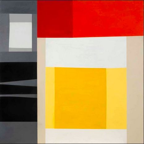 """""""Untitled"""" 1957 Harold Krisel (1920 - 1995) studied architecture in Chicago at the New Bauhaus from 1946-1949. Once retired,he joined American Abstract Artists & met artists like Piet Mondrian, and befriended design luminaries like Gyorgy Kepes—founder of the Center for Advanced Visual Studies at MIT— and Harold Cohen. He also started creating a dazzling body of screenprints and paintings that few would see until nearly 60 years later."""