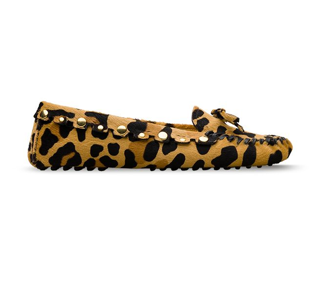 driving shoes leopard printed pony hair