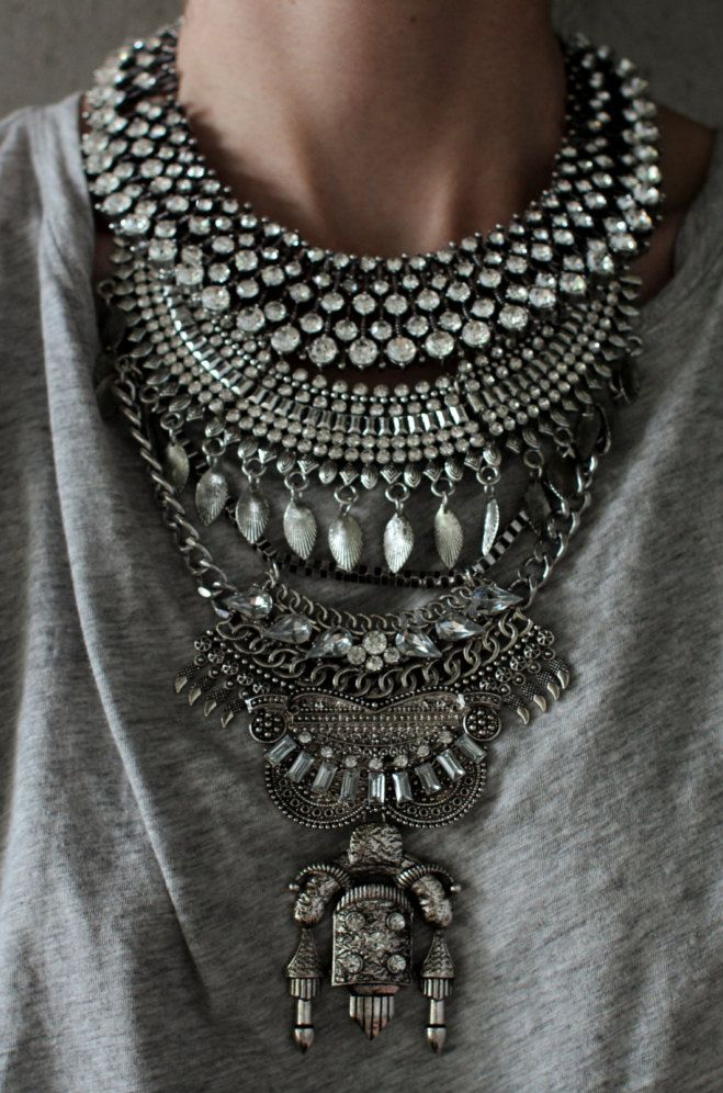 Statement Necklace - Handcrafted: Judah. Silver & clear crystal layered ethnic…