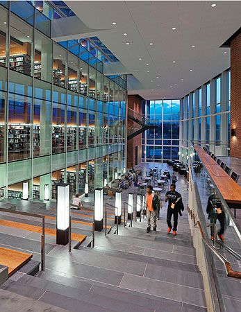 Jerry Falwell Library: nearly 60% is dedicated to individual and collaborative spaces, with up to 80,000 items displayed in its four-story book tower