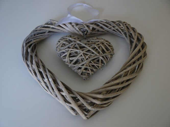 Large Wicker Hanging Hearts.  Wedding tableware and decorations available to hire in Kent, UK. Please seewww.picketfencewe... for further information and prices.