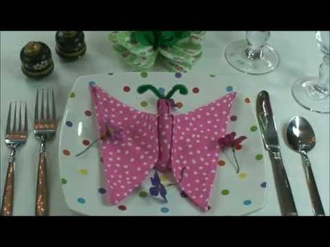Napkin Folding: How to fold My Butterfly. (video)