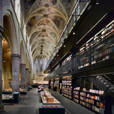 Selexyz Bookstore: Location: Maastricht, Netherlands  The Selexyz Dominicanen bookstore is housed in a 700-year-old former Catholic church in the Netherlands city of Maastricht. Badly neglected for much of the past 200 years, the 13th century church was transformed into a bookstore by Amsterdam-based architects Merkx+Girod. It now houses a three-storey bookshelf complete with staircases, elevators and walkways. Glancing up, restored frescoes adorn the vaulted ceilings while a cross-shaped…