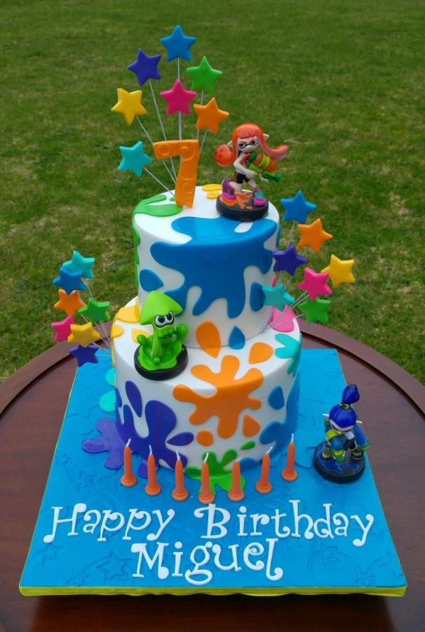 Splatoons Cake - Cake by Lisa-Jane Fudge