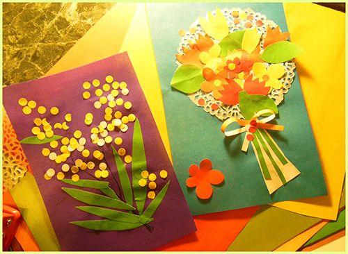 Детские цветочные открытки к 8 марта.