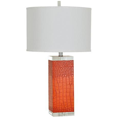 This contemporary table lamp will reinforce the fiery and colorful personality of any living space.