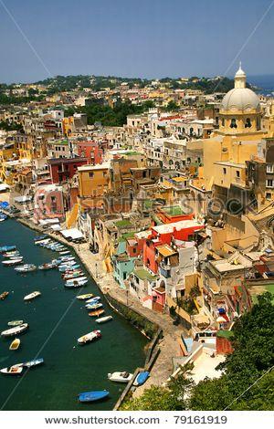 Corricella - Procida, beautiful island in the mediterranean sea, Naples - Italy