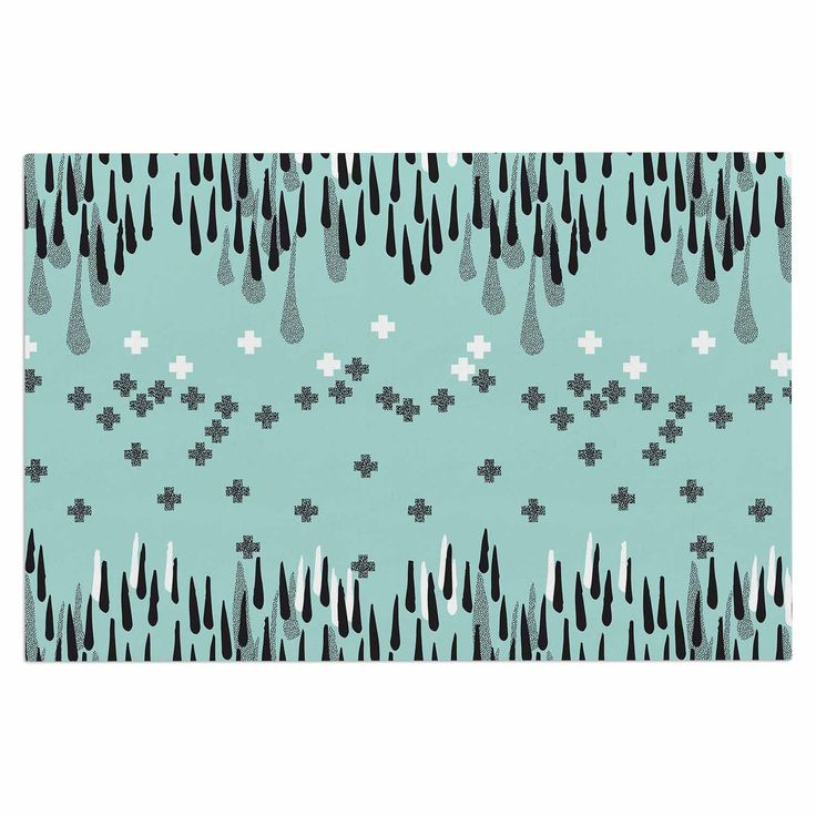 "Zara Martina Mansen ""Drop of Memphis Blue"" Aqua Gray Decorative Door Mat"
