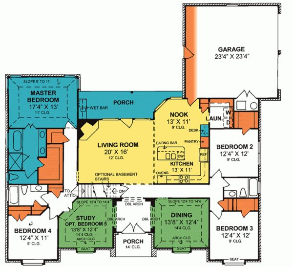 traditional style house plans 2462 square foot home 1 story 4 bedroom and 3 bath 2 garage stalls by monster house plans plan - Project Home Plans