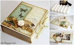 Here is an interesting idea to make a box that looks like a book, really great for jewelry storage or gift box. This is a vintage version, you can customize with your creation, enjoy crafting! Materials you may need: Scrap paper Ruler Vintage ink Glue Lace or lace paper Other decorative