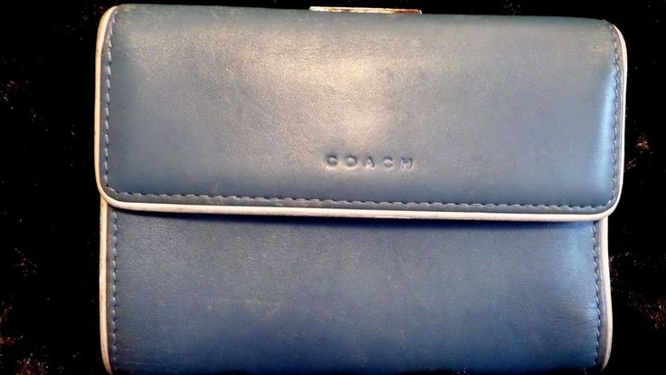 VINTAGE COACH BLUE CREDIT CARD ID BIFOLD CHANGE SPORT CALF LEATHER WALLET GUC. #Coach #Bifold