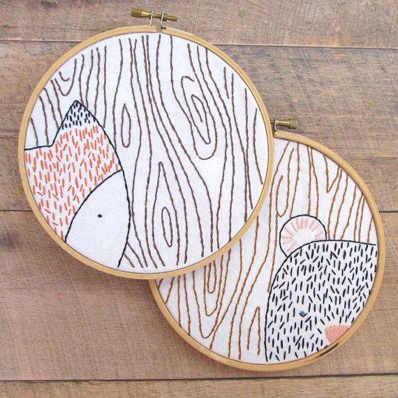 Fuchs und Bär Stickerei Hoop Art Muster PDF - Waldtiere Hand Stickerei