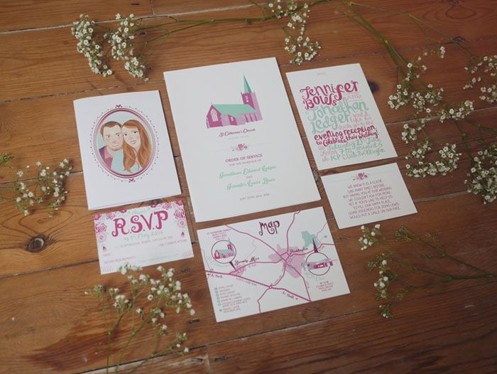 The colour scheme for this wedding was mint green, hot pink and baby pink. The bride and groom's wedding invitation also contained a hand-drawn watercolour portrait and map.