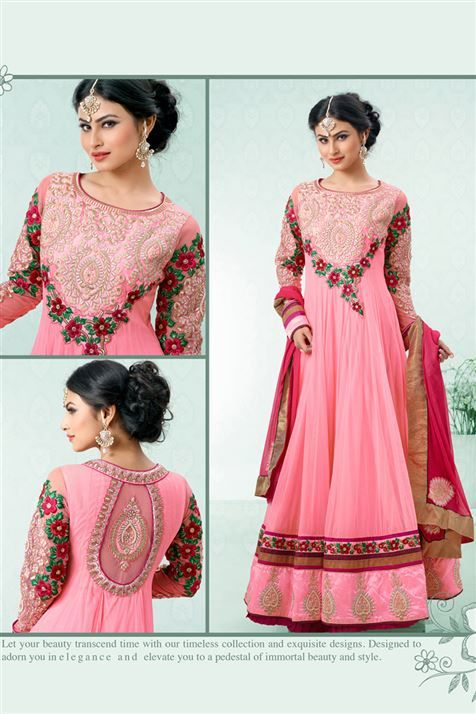 Mouni Roy Pink Georgette Floor Touch Embroidered Suit