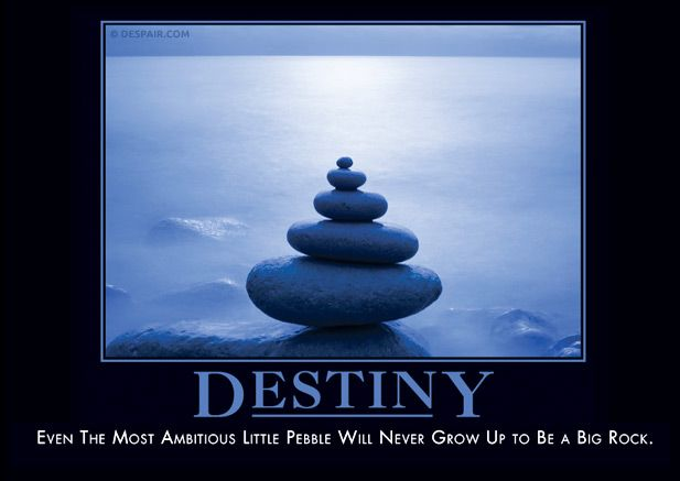 DESTINY - Even the most ambitious little pebble will never grow up to be a big rock.