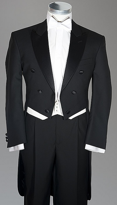 white tie and tails..this would be cool to have on a formal night as a second tux..I live for a tux they are so professional,so nice and wow do people notice you!