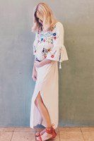 """Woodstock Maternity"" embroidered maternity kaftan - Cream   Fillyboo - Boho inspired maternity clothes online, maternity dresses, maternity tops and maternity jeans."