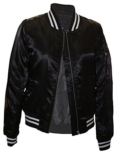 New Trending Outerwear: Miss London Ladies Womens Juniors Satin Poly-Filled Varsity Bomber Flight Jacket With Striped Rib W/Zipper Sleeve Pocket - Black (M). Miss London Ladies Womens Juniors Satin Poly-Filled Varsity Bomber Flight Jacket With Striped Rib W/Zipper Sleeve Pocket – Black (M)  Special Offer: $14.99  322 Reviews Stylish poly-filled bombe jacket with Varsity striped rib. Made from a satin fabric that is sure to dazzle your...