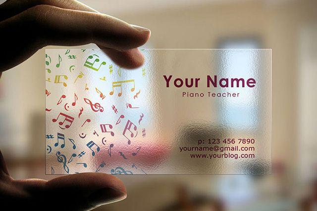 Creative Transparent Business Cards Idea for musicians and music teachers, designed in Adobe Illustrator.