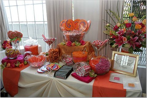 candy buffet': Tables Clothing, Candybuffet, Colors Candy, Candy Bar, Orange Candy Buffet, Candy Tables, Parties Decor Ideas, Candy Decor, Buffet Ideas