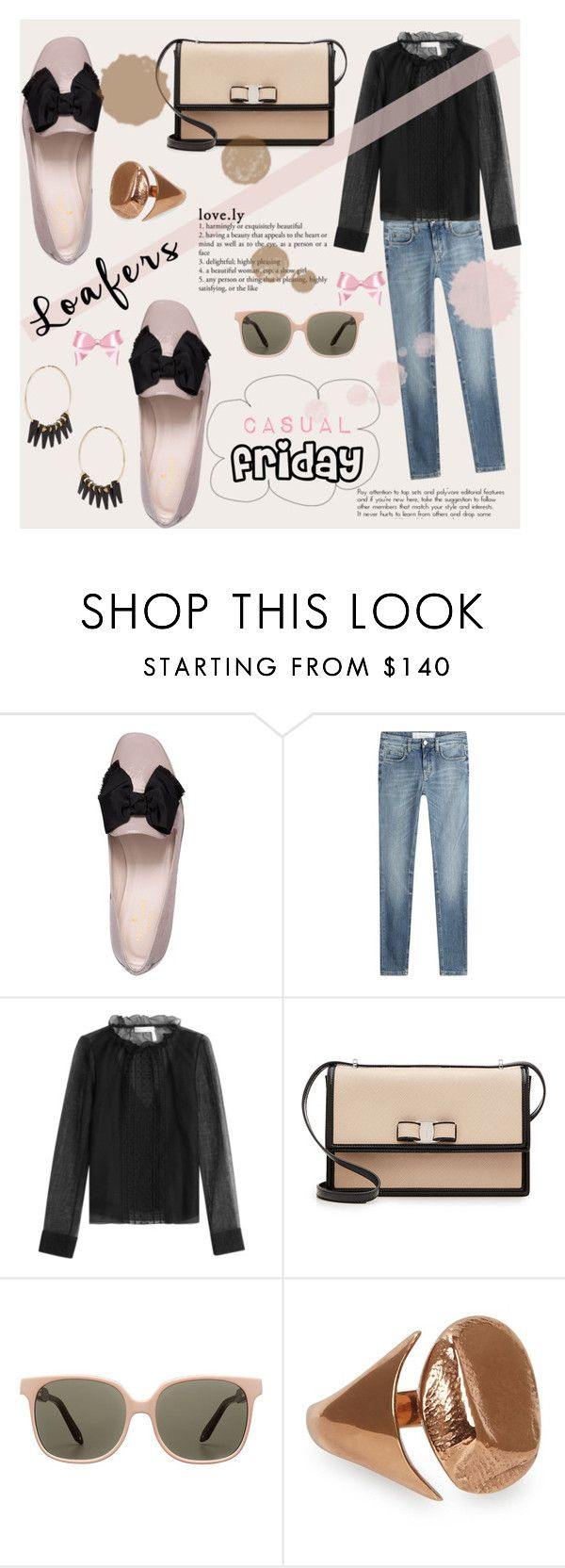 """""""casual friday loafers"""" by joliedy ❤ liked on Polyvore featuring Kate Spade, Victoria, Victoria Beckham, See by Chloé, Salvatore Ferragamo, Victoria Beckham, Cornelia Webb and Alice Menter"""