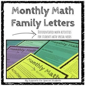 This set of Monthly Math letters is designed to be used in an elementary special education classroom.  Each letter focuses on a different domain of mathematics and includes simple, hands-on activities for families to try at home. The activities are differentiated to meet the varied needs of students in a special education program, and focus on the foundational skills needed to work towards the Common Core State Standards.This set includes 10 letters:OverviewCounting and Cardinality Numbers…