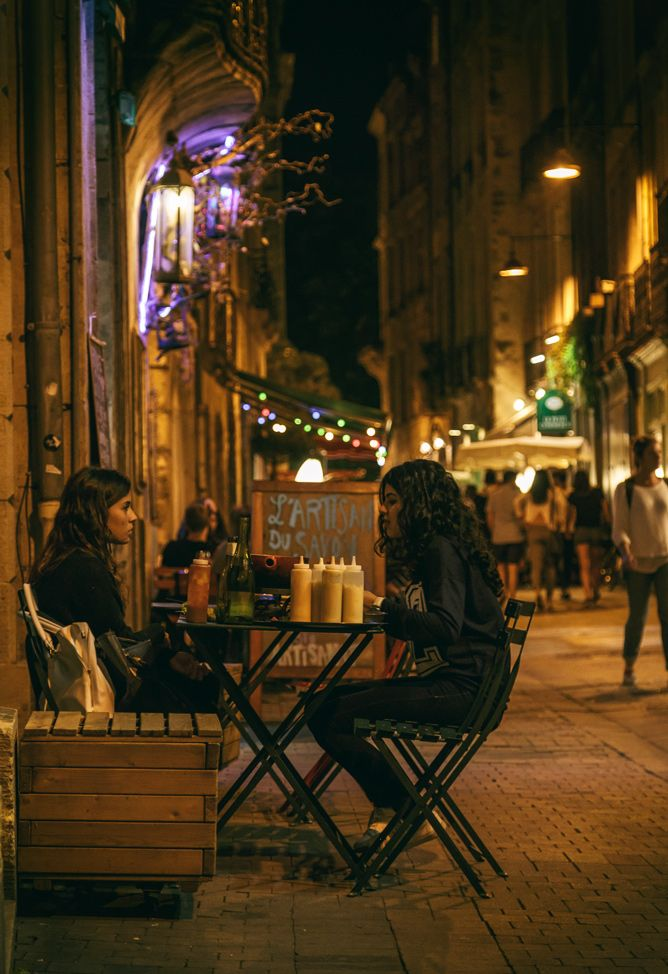Nightlife in Bordeaux, France.