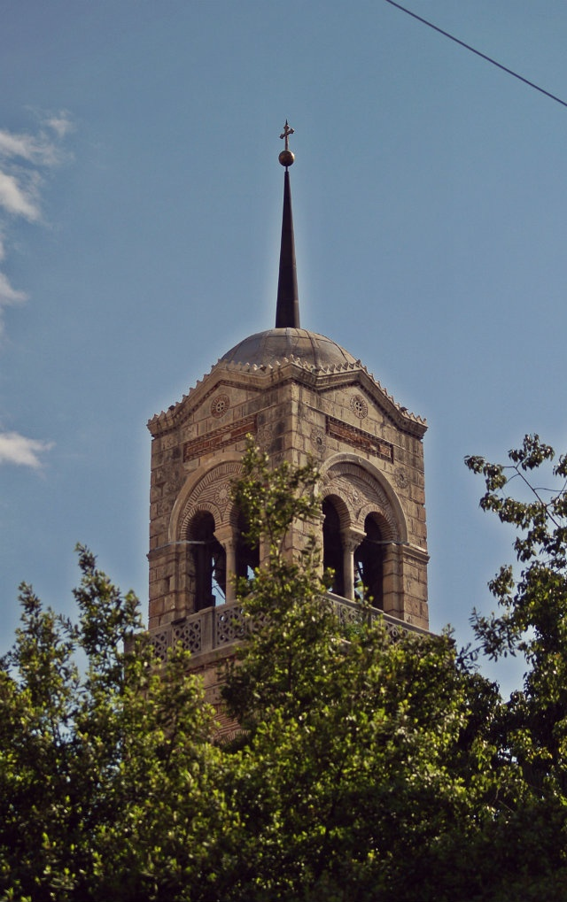 The top of the Russian Church (Sotiras Lykodimos) bell tower. (Walking Athens, Route 05 - Lower Plaka)