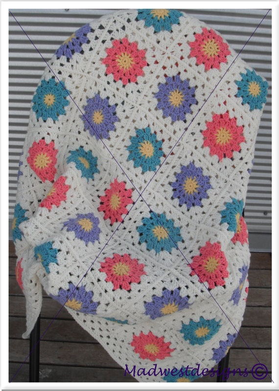 OOAK Granny Square Baby Blanket by madwestdesigns on Etsy, $120.00