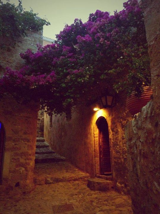 Start of night in Monemvasia Greece Art & Architecture
