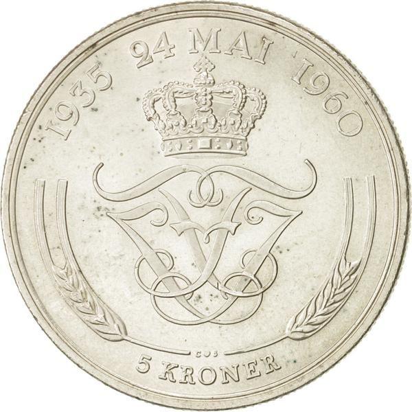 Denmark Frederik Ix 5 Kroner 1960 Copenhagen Au 55 58 Silver Km 852 Krone Danske Kroner Danmark