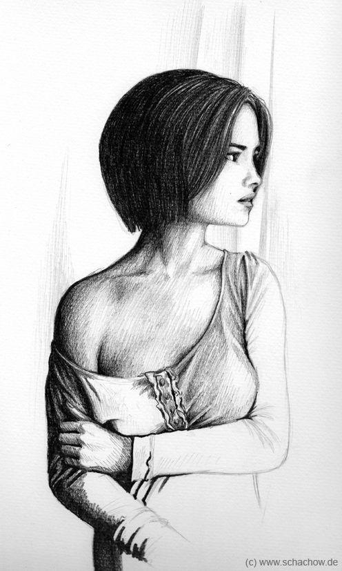 Eine unfertige Bleistift-Zeichnung einer Frau