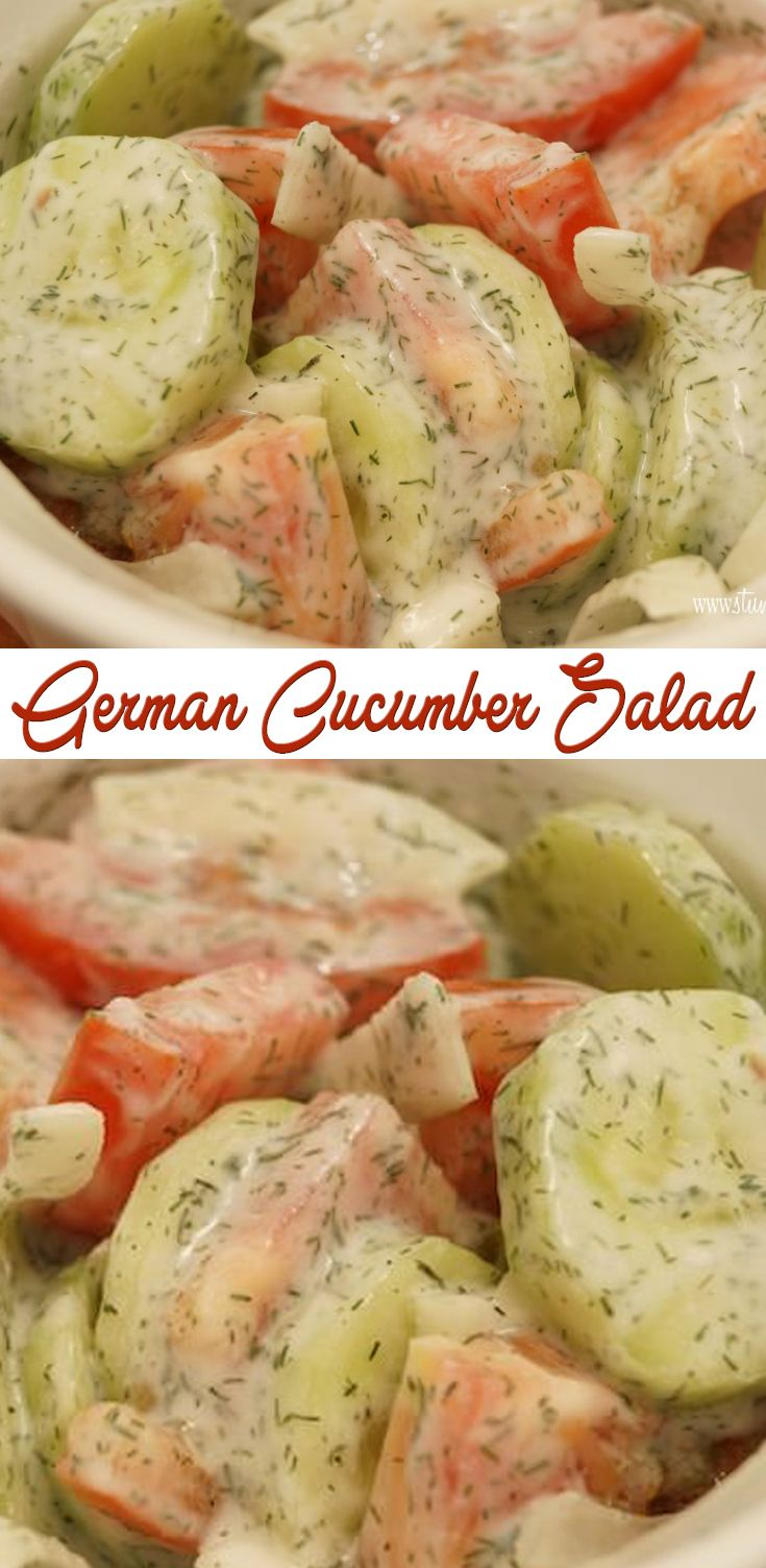 German Cucumber Salad - Jon really liked.  Used some baby tomatoes, but I think less than called for.  Only one onion slice, but its diameter was really large and then cut into smaller chunks.  Used normal yoghurt and added a bit more dill to make it look more like what's in the picture.