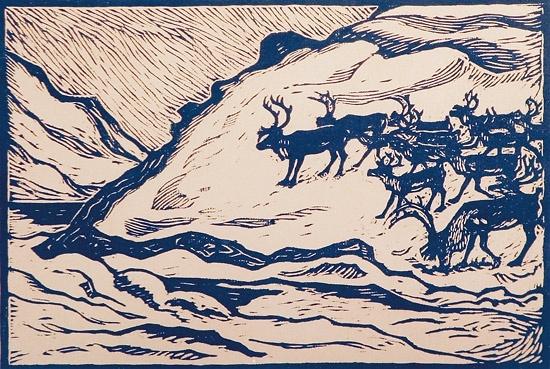 reindeer, John Savio, woodcut