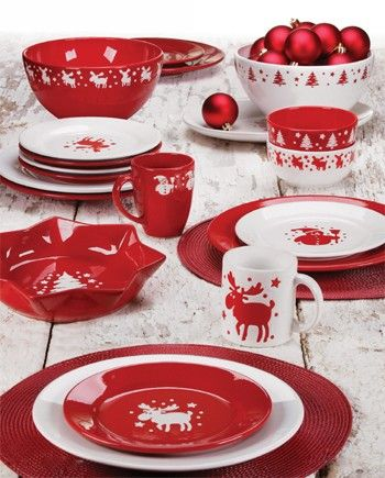 Waechtersbach Dinnerware featuring Red, Christmas, Square, Mugs and Bold Solid Color Plates and Platters.