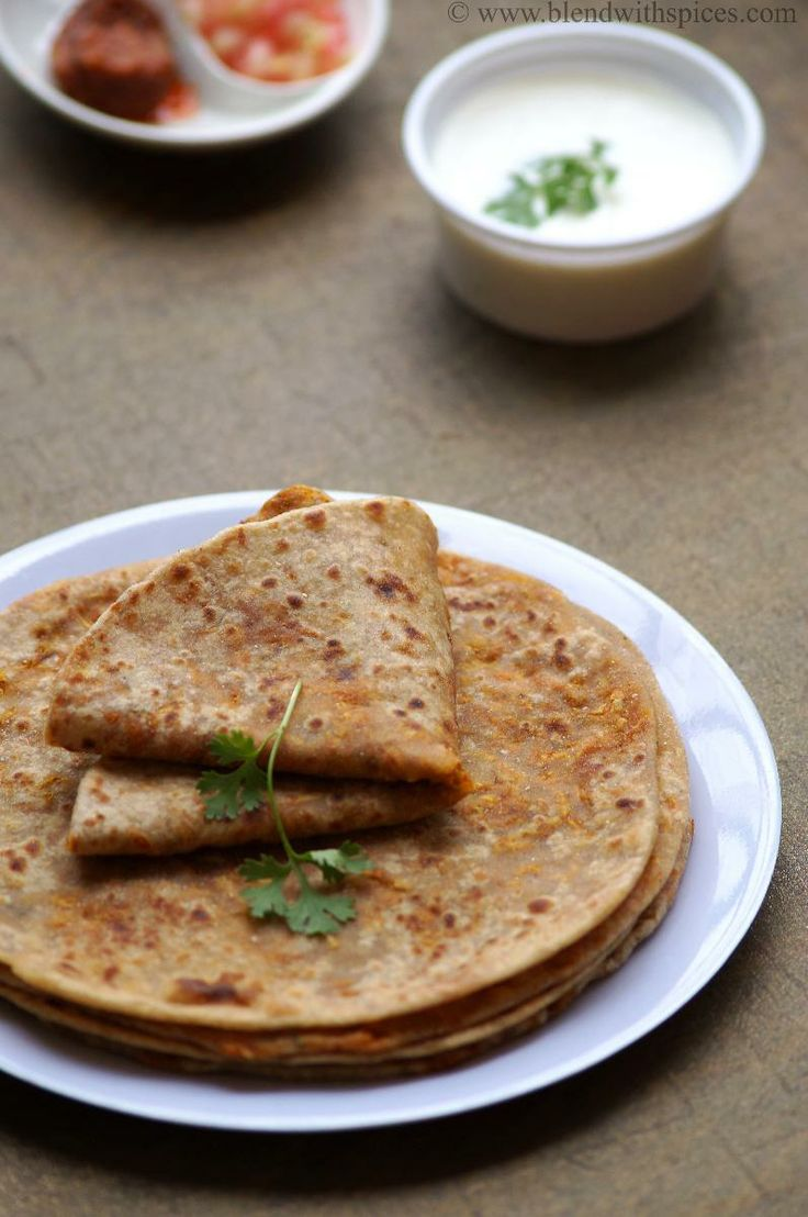 Carrot Paratha - Indian flat bread stuffed with spiced carrot filling. Step by step recipe