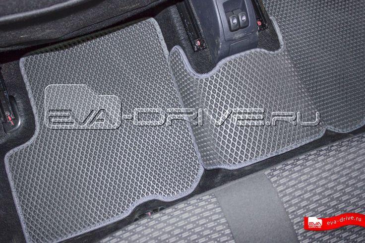 Лада Ларгус (7-ми местная) - коврики EVA-DRIVE. Задние коврики, цвет серый с серой окантовкой.