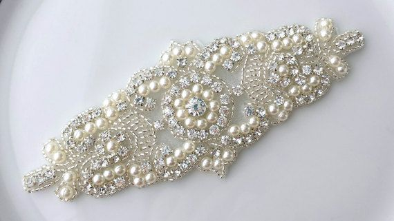 Bead Rhinestone Pearl Applique Embellishment by TheTossedBouquet