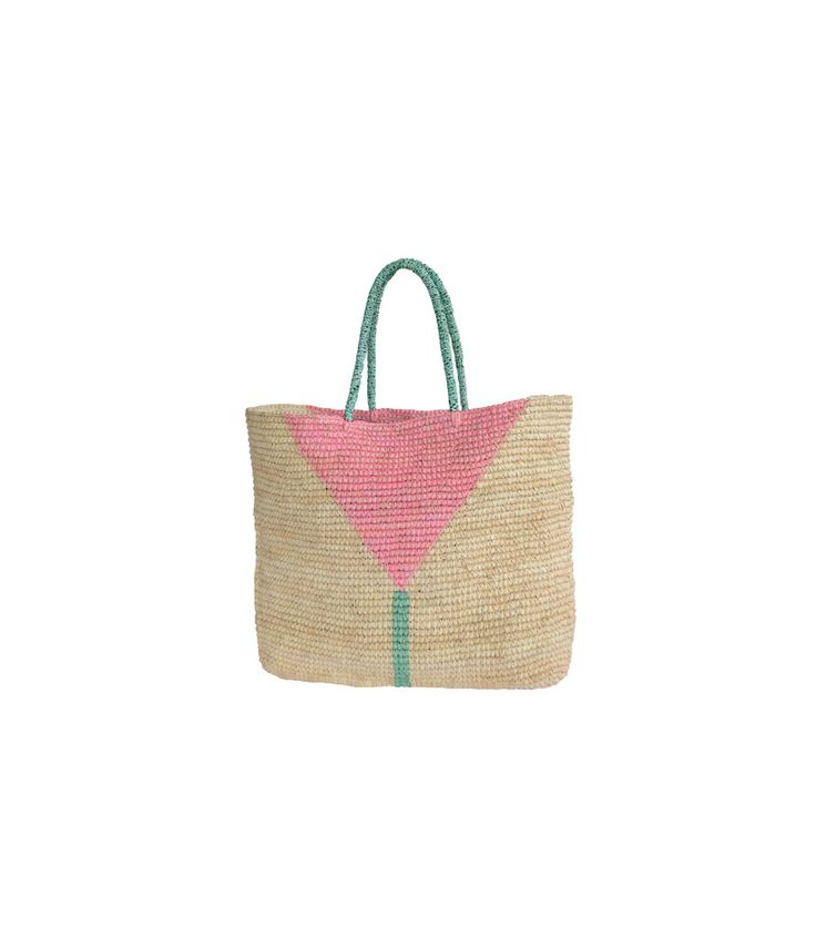 Martinique Pastel Straw Tote by Prymal